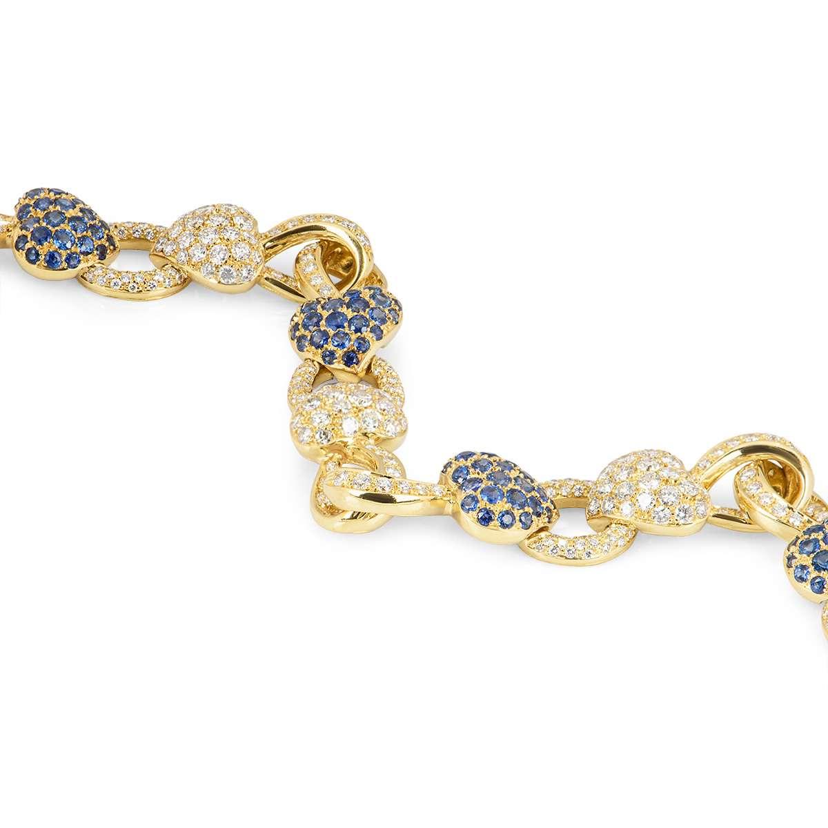 Yellow Gold Sapphire and Diamond Heart Bracelet